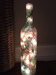 wine bottle light teal bottle decoupage bottle light