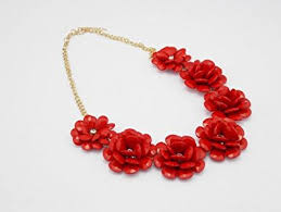 red fashion necklace images Buy home red resin flower beaded rose flower statement jpg