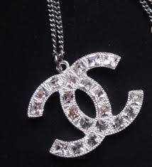 silver crystal pendant necklace images Authentic chanel classic large cc logo necklace square crystal jpg