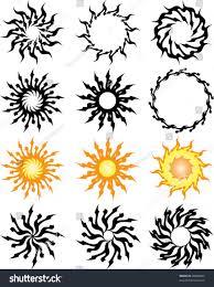 sun tribal tattoo vector tribal tattoo set cross sun stock vector 26868505