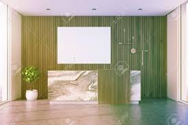 comptoir de bureau intérieur de bureau en bois avec un sol en béton et un comptoir de