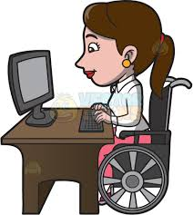 a disabled woman surfing the internet cartoon clipart vector toons