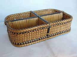 Wicker Desk Organizer by Wonderful Small Divided Basket Or Desk Organizer From