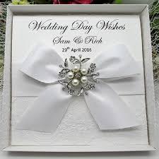 personalised boxed luxury wedding card lace handmade vintage lace