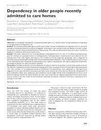dependency in older people recently admitted to care homes pdf