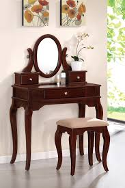 Cherry Bedroom Vanity Sets Vanity Set With Stool Queen Anne Legs Multiple Finishes