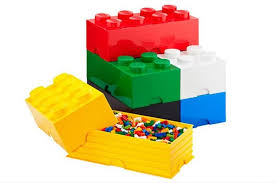 toy storage boxes with lego shaped design and smart organized