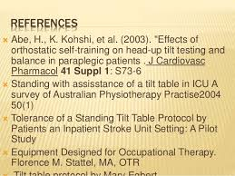 tilt table protocol for physical therapy tilt table