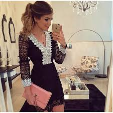lace dresses 2017 new fashion women a line dress black hollow out lace