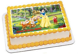 Snow White And The Seven Dwarfs Edible Birthday Cake Topper Or