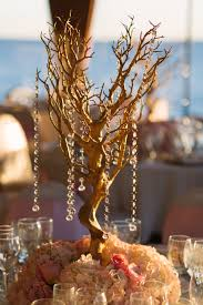 gold manzanita trees with hydrangeas and roses wedding