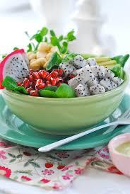 salad of dragon fruit pomegranate u0026 macadamia w creamy mint