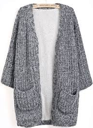 how does it take to knit a sweater grey sleeve pockets knit cardigan sheinside com the pockets