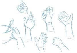 drawn hand gesture hand sketch pencil and in color drawn hand