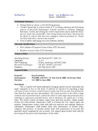 Job Developer Resume by Asp Net C Resume Sample Developer Resume Sample One Developer Asp