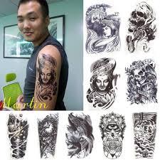 black death skull shoulder tattoos temporary tatto men temporary