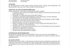 Jobs Descriptions For Resume by Table Busser Job Description 20 Server Duties For Resume Sainde