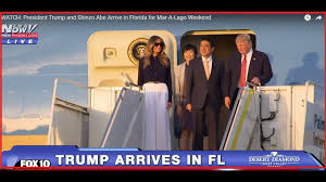 watch president trump and shinzo abe arrive in florida for mar a