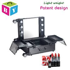makeup case with lights and mirror new patent design professional aluminum trolley makeup case with
