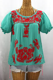 embroidered blouses la mariposa corta de color embroidered blouse mint