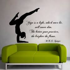 wall decals quote yoga is a light which once lit gym art zoom