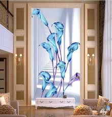 3d blue flowers corridor entrance wall mural decals art print 3d blue flowers corridor entrance wall mural decals art print wallpaper 071