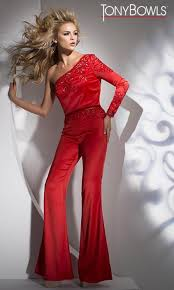 tony bowls tb11645 one long sleeve formal jumpsuit french novelty