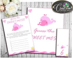 baby shower guess the sweet mess game whale cards tents sign