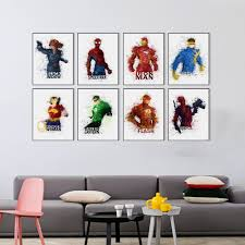 modern watercolor avengers movie superhero batman superman canvas