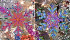 diy rainbow snowflake ornaments