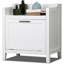 Bathroom Cabinet With Hamper Amazon Com Homcom Wooden Bathroom Laundry Hamper Cabinet White