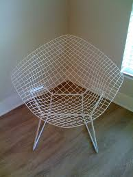 authentic vintage harry bertoia white wire diamond chair knoll mid