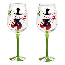 christmas snowman handpainted wine glasses set of 2 christmas