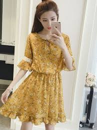 plus size chiffon short dress ulzzang korean fashion half sleeve