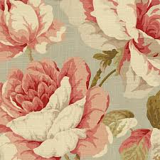 Drapery And Upholstery Fabric Aqua And Pink Giant Rose Linen Fabric Traditional Drapery