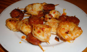 canapes with prawns king prawn and chorizo skewers dinner at home