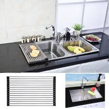 over the sink dish drying rack vanra foldable roll up dish drying rack stainless steel over the