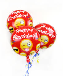 helium birthday balloons 18 emoji birthday balloon 3 pack fast shipping usa
