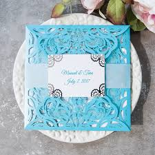 wedding invitations 1 modern blue laser cut silver foil lace wedding invitations