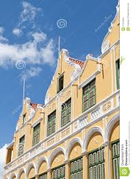 facade of caribbean dutch colonial building royalty free stock