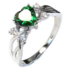 green rings images Emerald heart shaped ring green cubic zirconia cute promise rings jpg