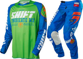 motocross gear set shift new mx gear set strike blue green dirt bike motocross pants