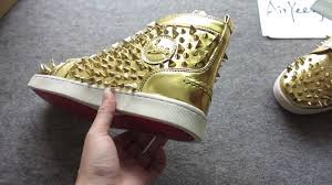 chrisitian louboutin men sneakers pik spikes gold 1 1 replicas top