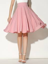 high waisted skirt pink high waist midi skater skirt abaday