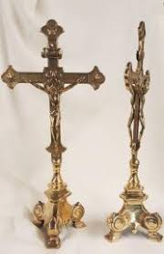 altar crucifix sided standing altar crucifix 13 inch shiny brass