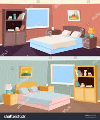 cartoon bedroom apartment living room interior stock vector