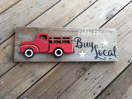 Vintage Ford Truck Decor - farm fresh red truck sign reclaimed wood vintage red farm