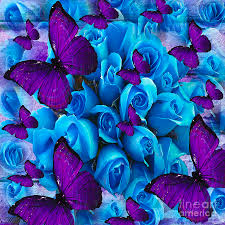 roses and purple butterflies painting by saundra myles