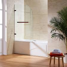 glass bath doors frameless vigo orion 34 in x 58 in frameless curved pivot tub shower door