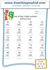 kindergarten worksheets sum of two 2 digits numbers without